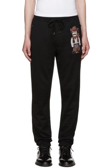 Dolce & Gabbana - Black Embroidered Cowboy Lounge Pants