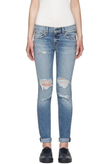 Rag & Bone - Blue Cuffed Dre Jeans