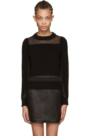 Rag & Bone - Black Wool & Mesh Sweater