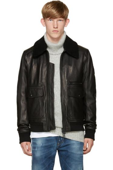 Belstaff - Black Leather Hallington Jacket