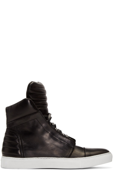 Diesel Black Gold - Black Leather High-Top Sneakers