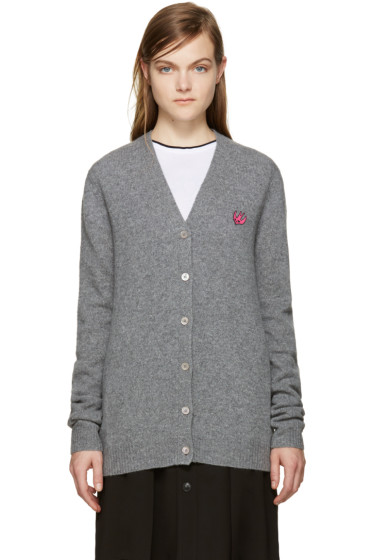 McQ Alexander Mcqueen - Grey Embroidered Swallow Cardigan