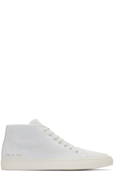Common Projects - Off-White Suede New Court Mid-Top Sneakers