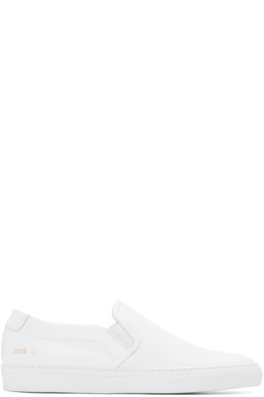 Common Projects - White Leather Slip-On Sneakers