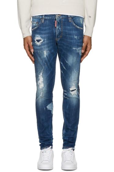 Dsquared2 - Blue Destroyed Skinny Dan Jeans