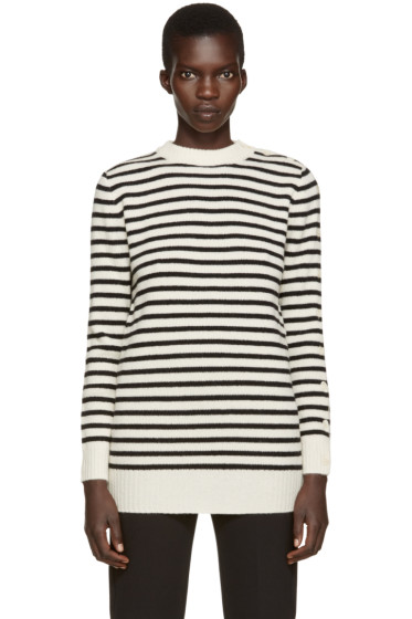 MM6 Maison Margiela - Off-White & Black Striped Sweater