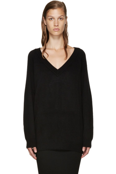 T by Alexander Wang - Black V-Neck Sweater