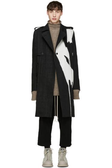 Rick Owens - Black Bleached Denim Trench Coat