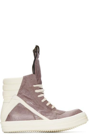 Rick Owens - Grey Lizard Geobasket High-Top Sneakers