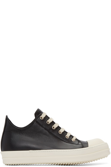 Rick Owens - Black Leather Low Sneakers