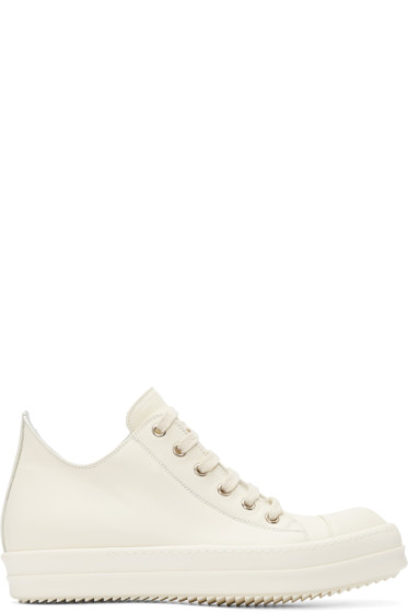Rick Owens - White Leather Low Sneakers