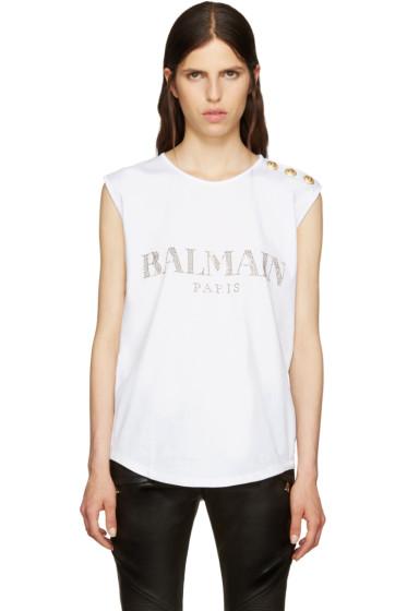 Balmain - White Crystal Logo T-Shirt