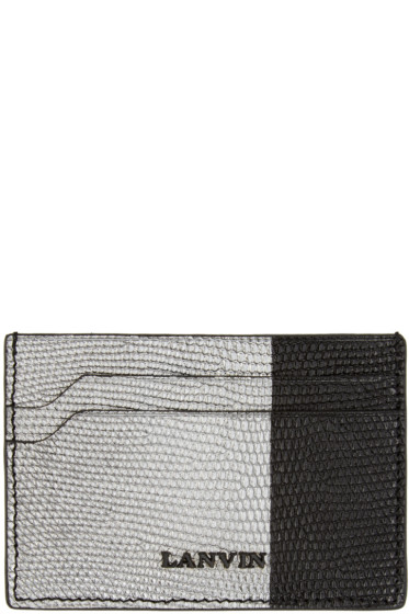 Lanvin - Black & Silver Lizard Card Holder
