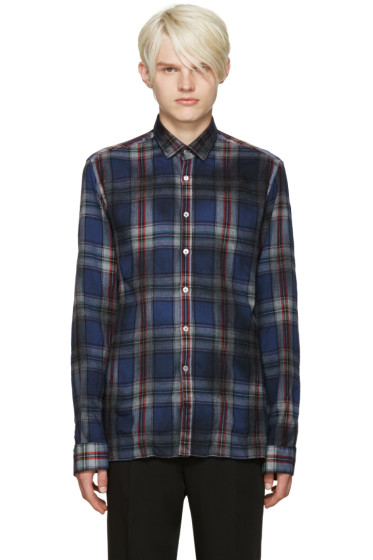 Lanvin - Blue Wool Plaid Shirt