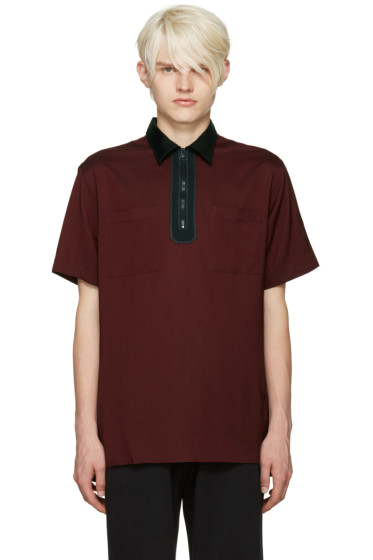 Lanvin - Burgundy Half-Zip Polo