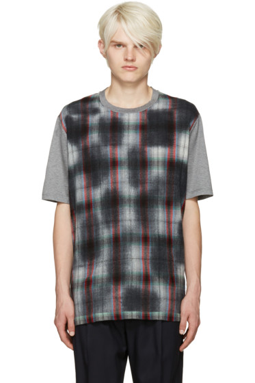 Lanvin - Grey Plaid Front T-Shirt
