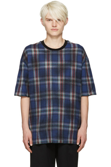 Lanvin - Blue Wool Plaid T-Shirt