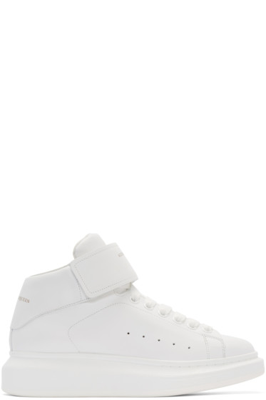 Alexander McQueen - White Leather High-Top Sneakers