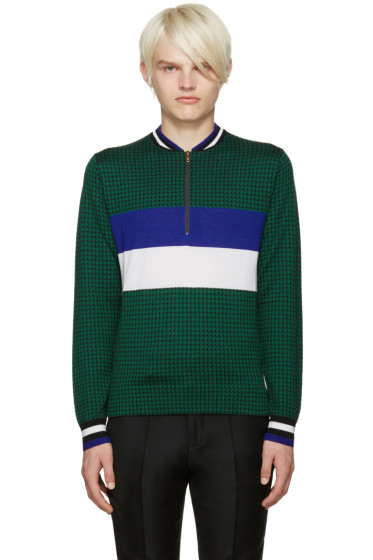 Paul Smith - Green Merino Houndstooth Sweater