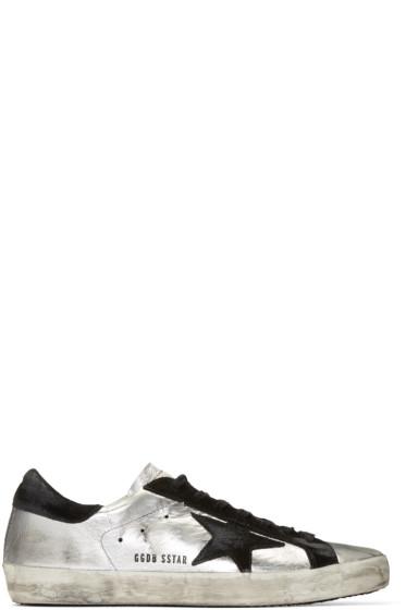 Golden Goose - Silver & Black Superstar Sneakers