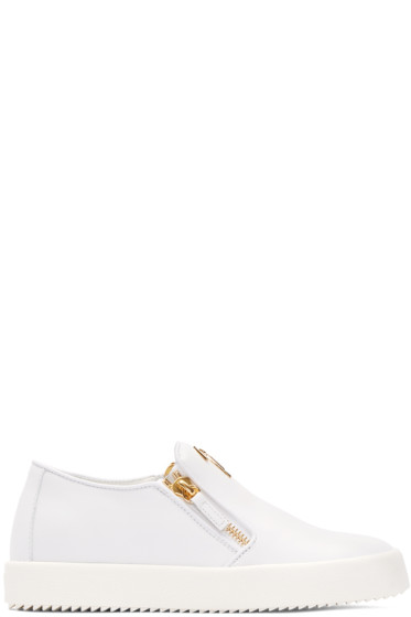 Giuseppe Zanotti - White Leather London Slip-On Sneakers