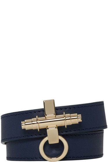 Givenchy - Navy Leather Obsedia Bracelet