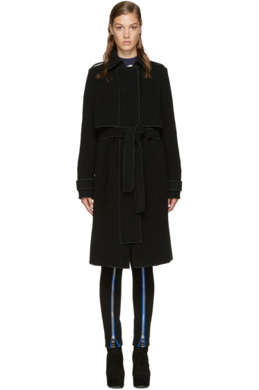 Carven - Black Wool Trench Coat