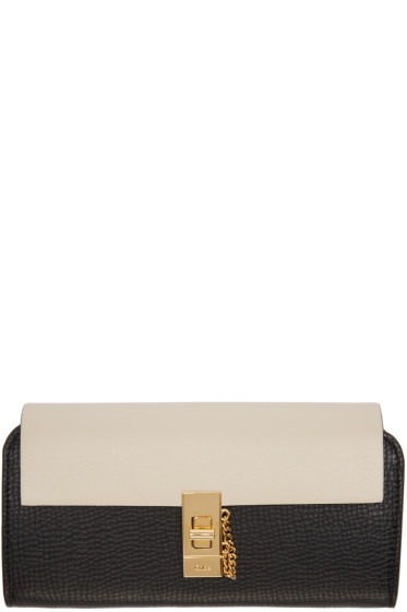 Chloé - Black & Off-White Long Drew Wallet