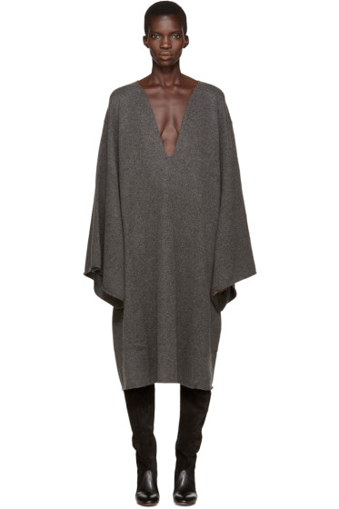 Chloé - Grey Deep-V Cashmere Dress