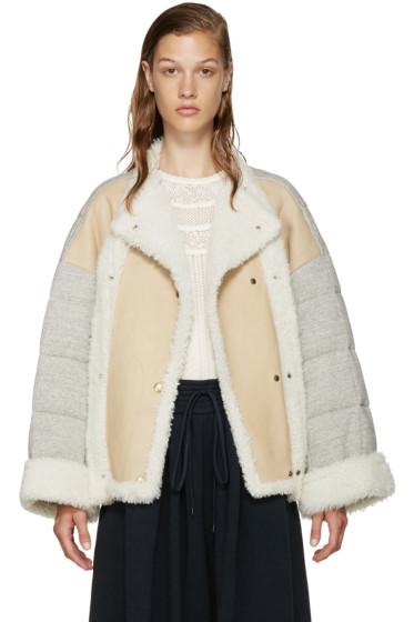 Chloé - Beige Shearling & Jersey Coat