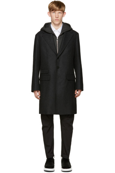 Neil Barrett - Grey Layered Coat With Hood