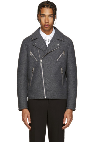 Neil Barrett - Grey Wool Biker Jacket