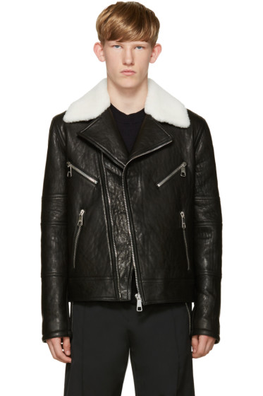 Neil Barrett - Black Leather Biker Jacket