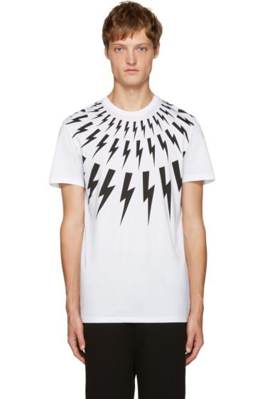 Neil Barrett - White Thunderbolt T-Shirt
