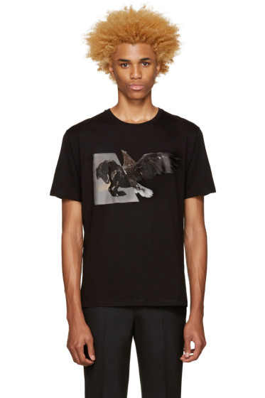 Neil Barrett - Black Horse Eagle Hybrid T-Shirt