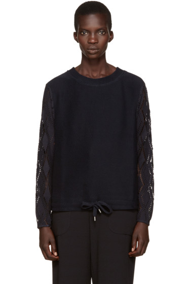 See by Chloé - Navy Pointelle Sweater