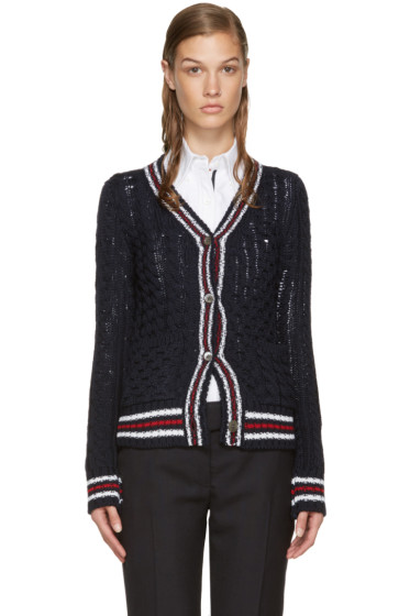 Thom Browne - Navy Cable Knit Cardigan