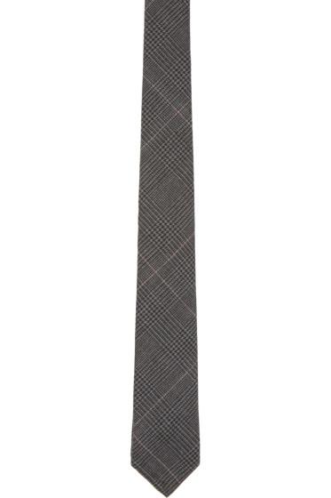 Thom Browne - Grey Hairline Overcheck Tie