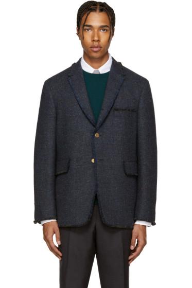 Thom Browne - Navy Tweed Frayed Blazer