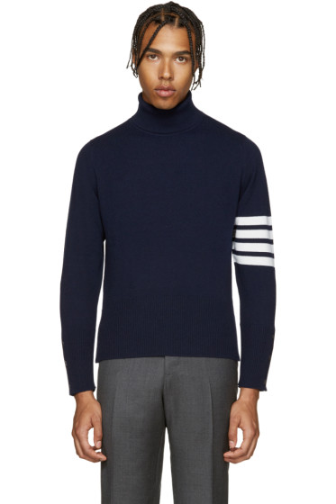 Thom Browne - Navy Cashmere Turtleneck