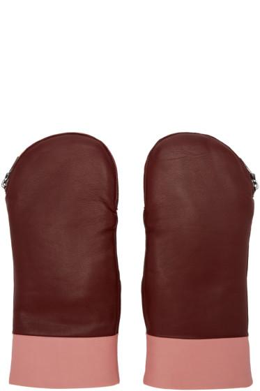 Kenzo - Burgundy Fur-Lined Mittens