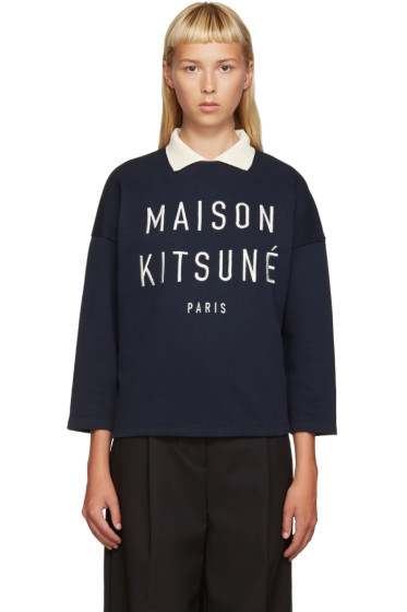 Maison Kitsuné - Navy Polo Sweatshirt
