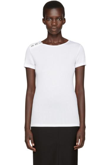 Versus - White Ribbed T-Shirt
