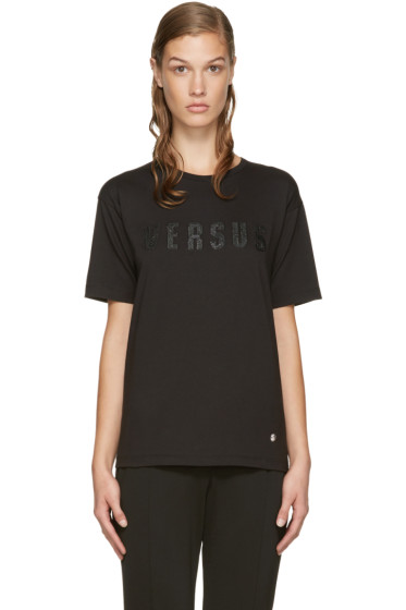 Versus - Black Embroidered Logo T-Shirt