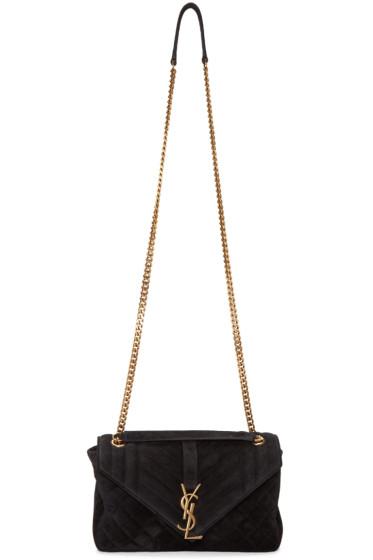 Saint Laurent - Black Suede Medium Monogram Slouchy Chain Bag