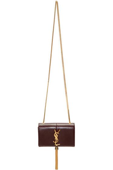 Saint Laurent - Burgundy Snakeskin Small Monogram Kate Bag