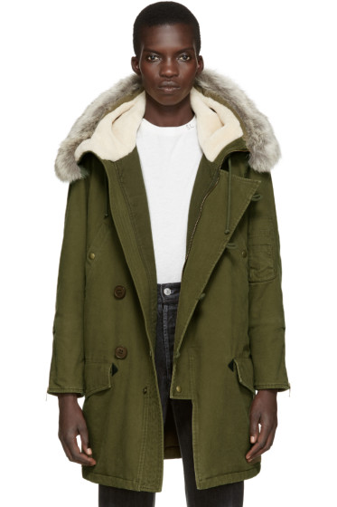 Saint Laurent - Khaki Fur Hooded Parka