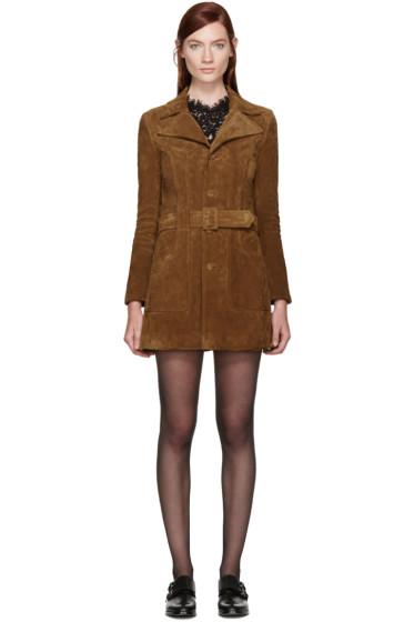 Saint Laurent - Tan Suede Belted Coat