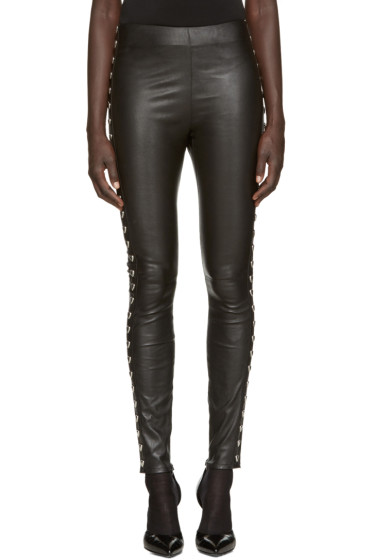 Saint Laurent - Black Heart Stud Leather Leggings