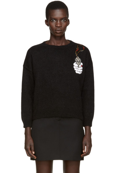 Saint Laurent - Black Mohair Embroidered Sweater